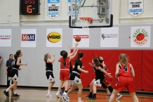 The Augustana Vikings women's team looks to rebound the ball during their home game the Concordia Thunder Jan. 26. The team lost at home 67-64 but had won the night previously with a score of 81-71.