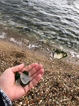 The Mediterranean Sea along the shores of Syracuse, Sicily and a handful of sea glass.